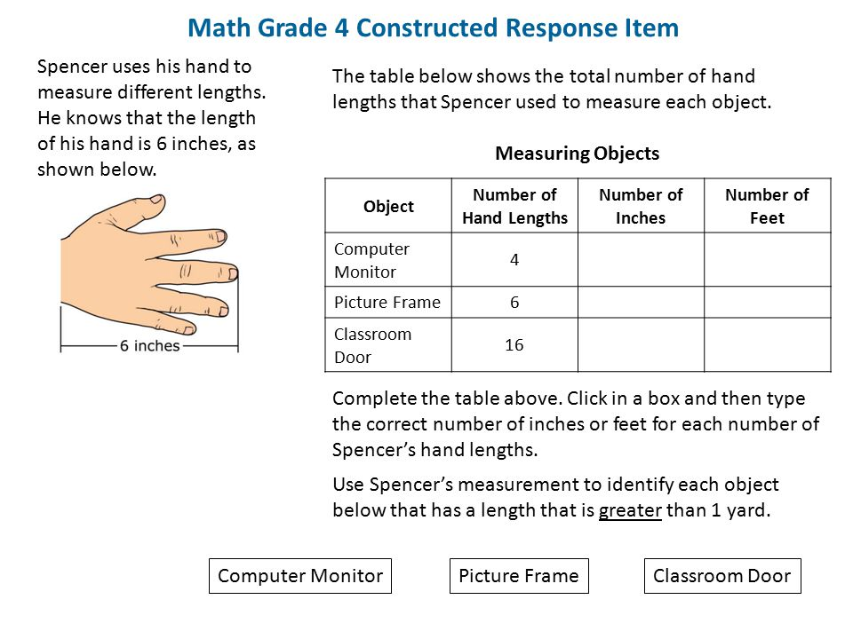 Math Grade 4 Constructed Response Item