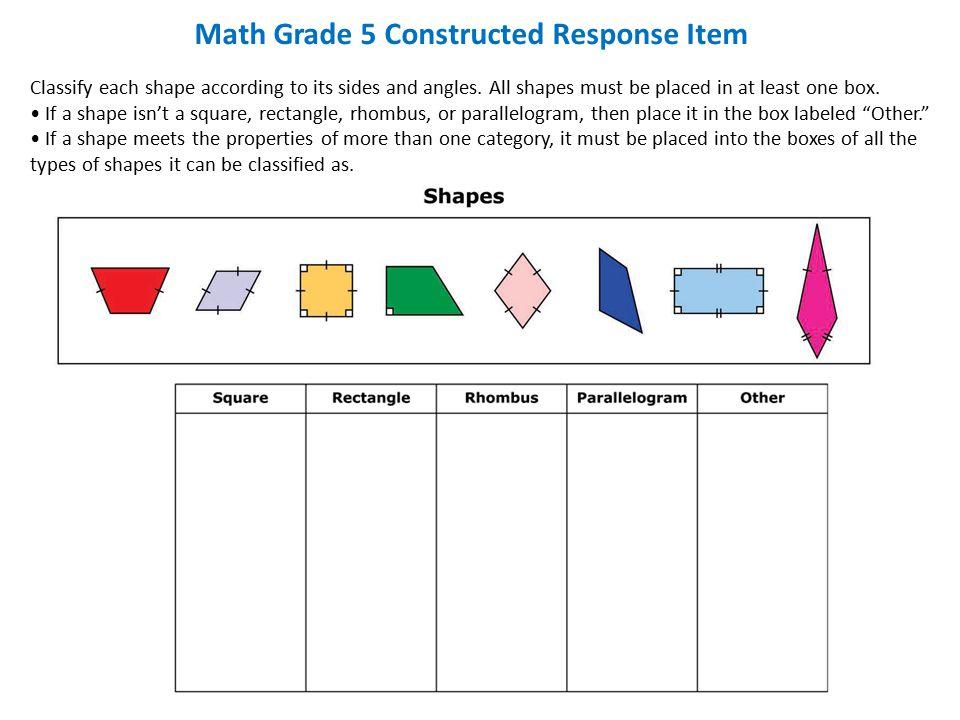 Math Grade 5 Constructed Response Item