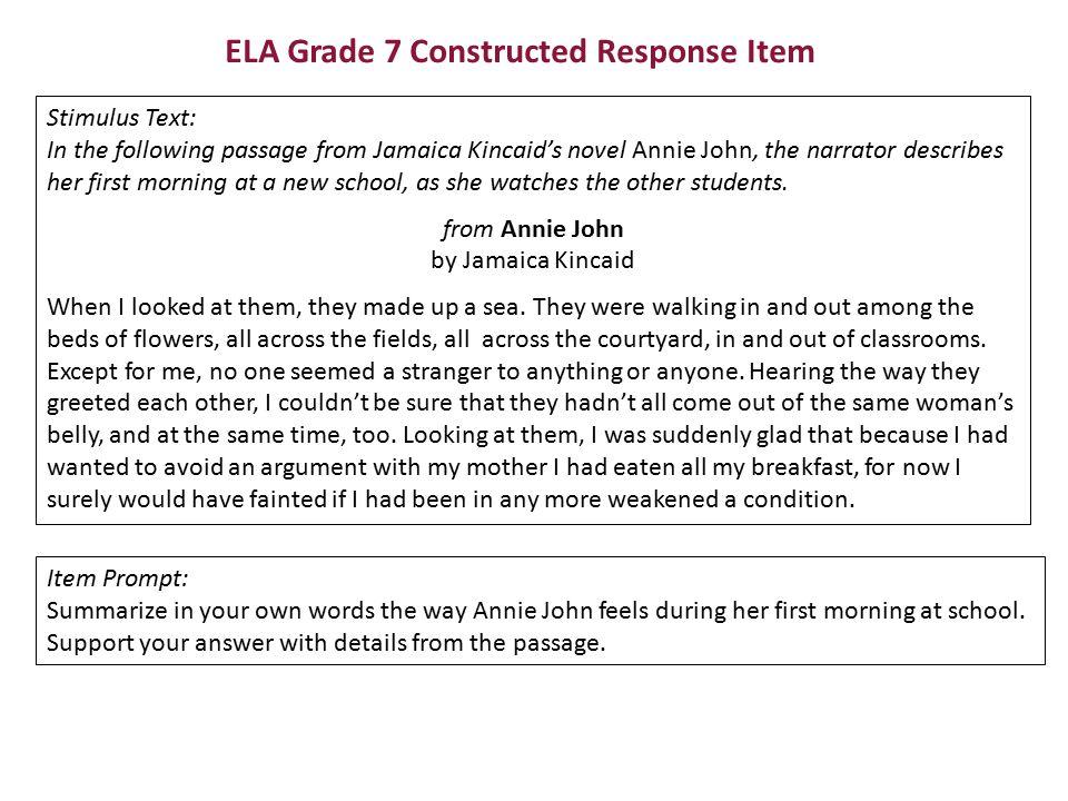 ELA Grade 7 Constructed Response Item