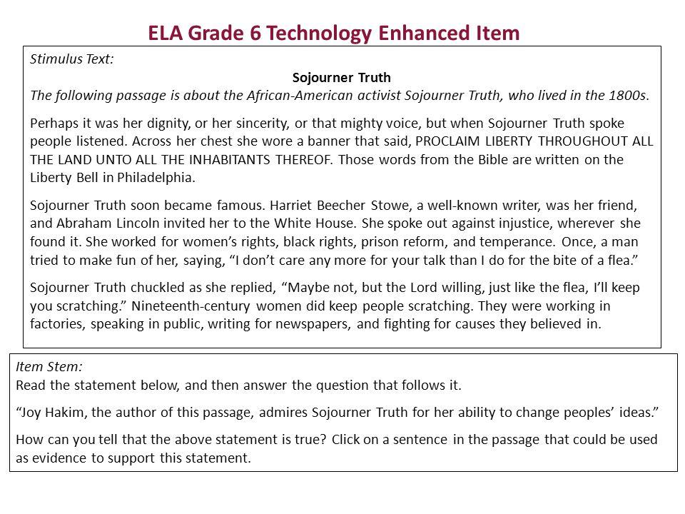 ELA Grade 6 Technology Enhanced Item