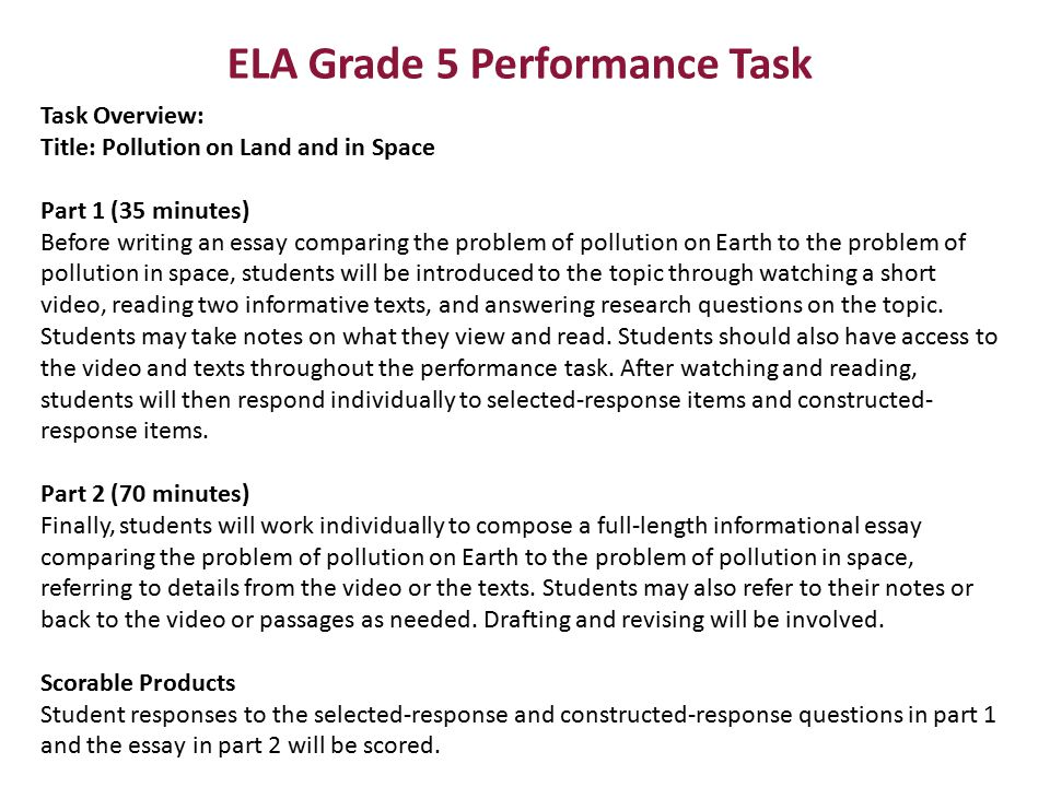 ELA Grade 5 Performance Task