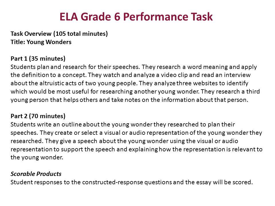 ELA Grade 6 Performance Task