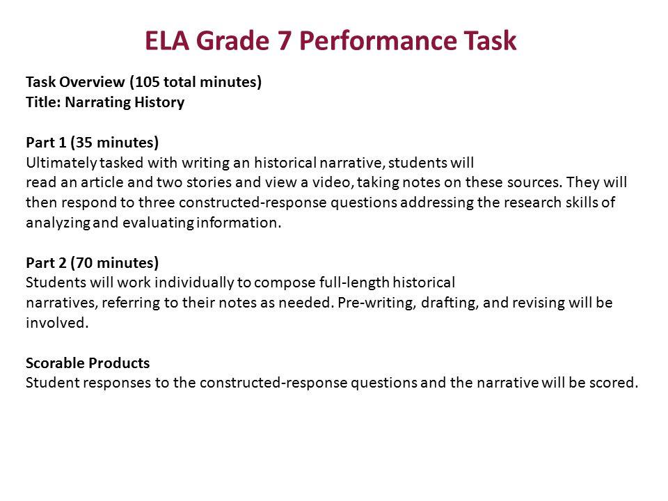 ELA Grade 7 Performance Task