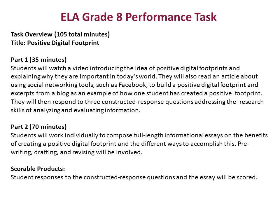 ELA Grade 8 Performance Task