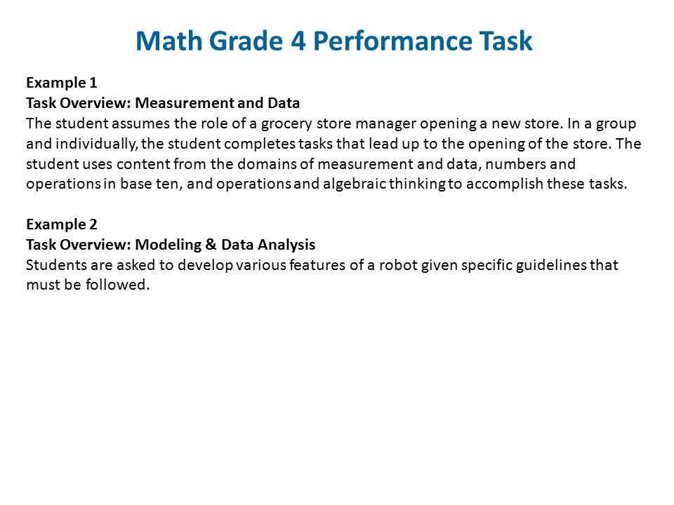 Math Grade 4 Performance Task