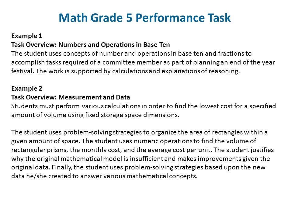Math Grade 5 Performance Task