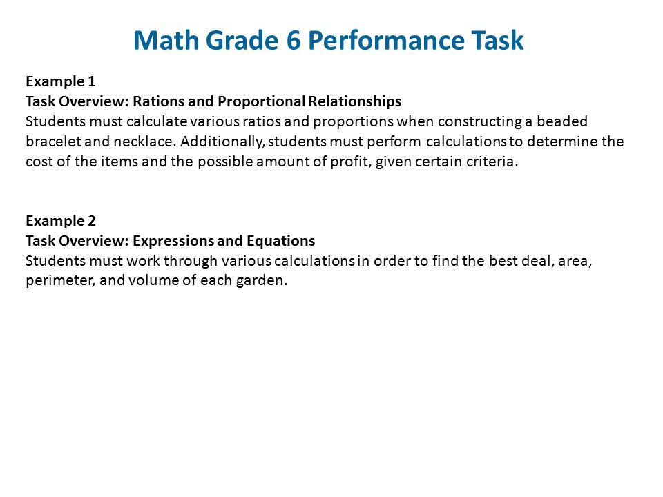 Math Grade 6 Performance Task