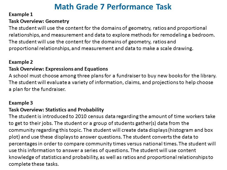 Math Grade 7 Performance Task