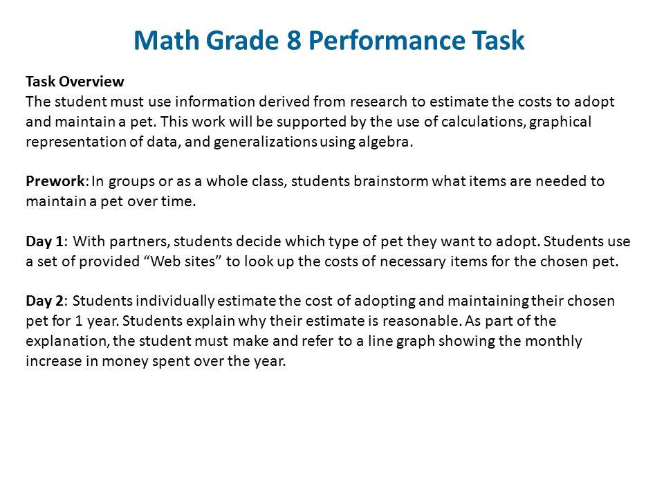 Math Grade 8 Performance Task