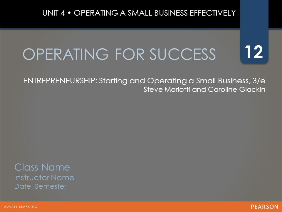 OPERATING FOR SUCCESS Class Name