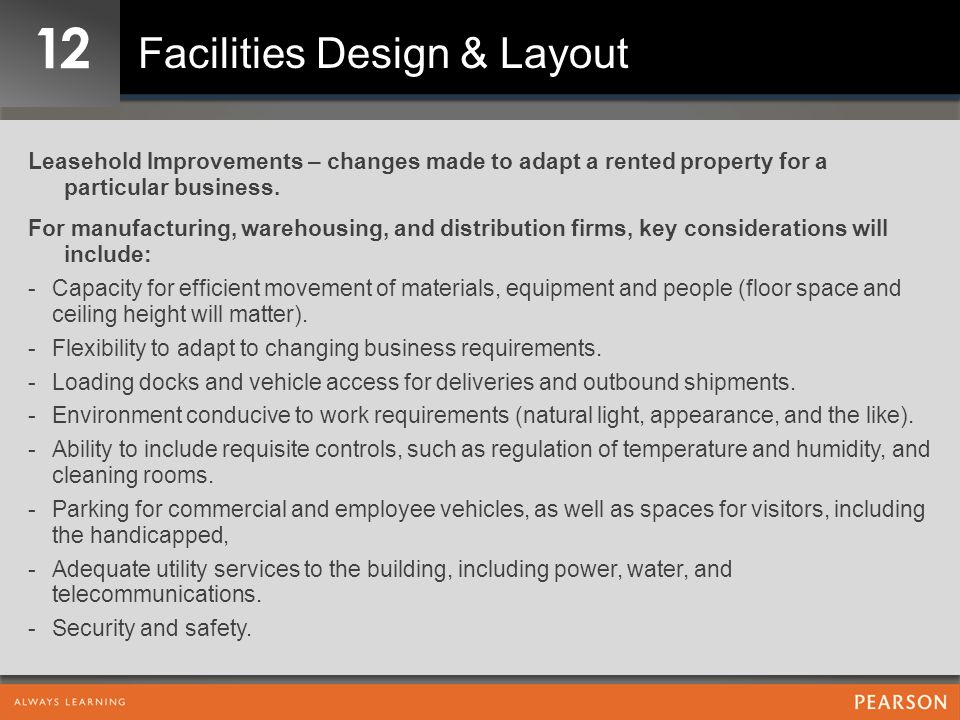 12 Facilities Design & Layout