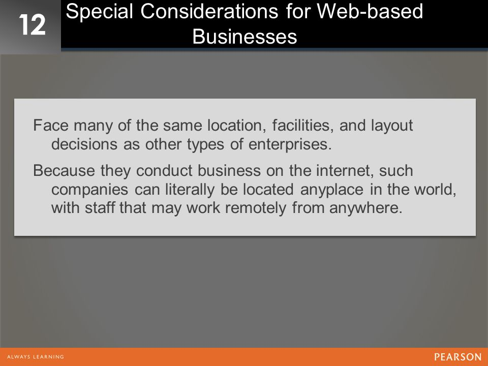 Special Considerations for Web-based Businesses