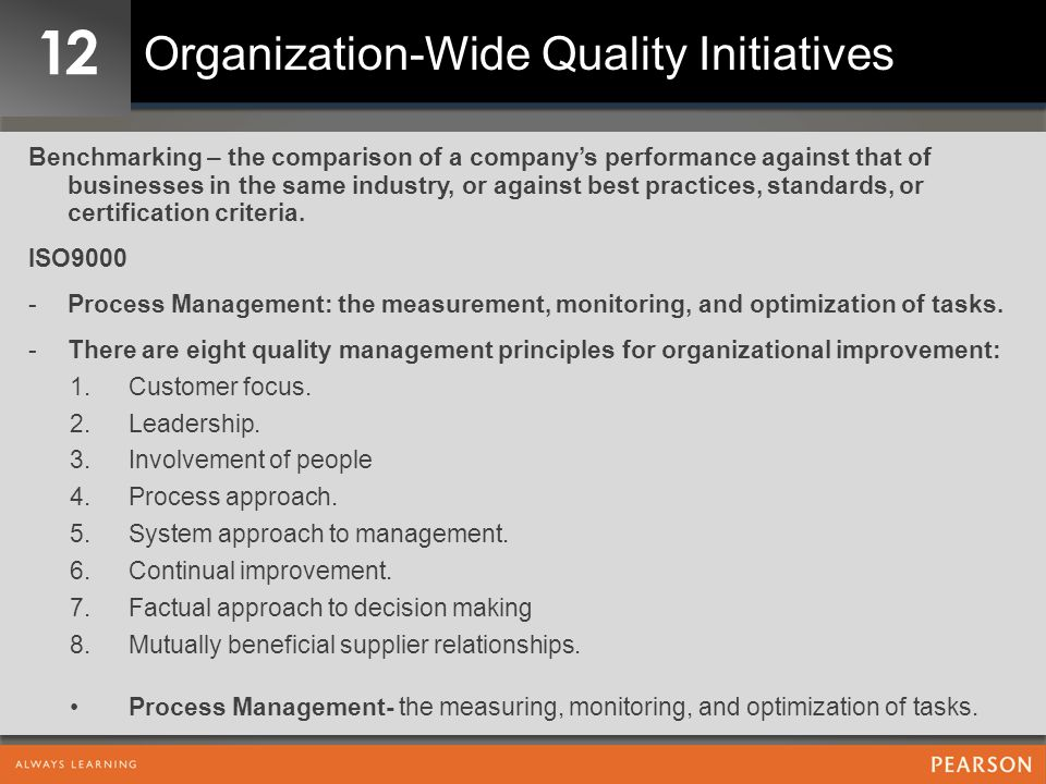 12 Organization-Wide Quality Initiatives