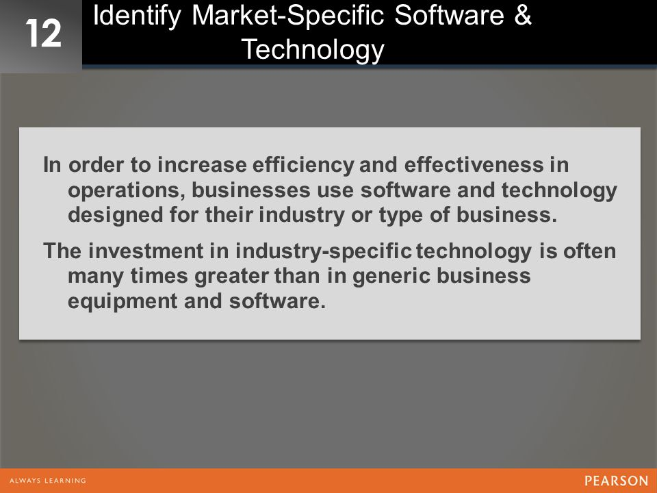 Identify Market-Specific Software & Technology
