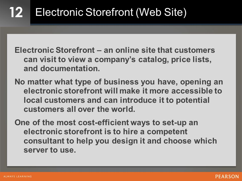 12 Electronic Storefront (Web Site)
