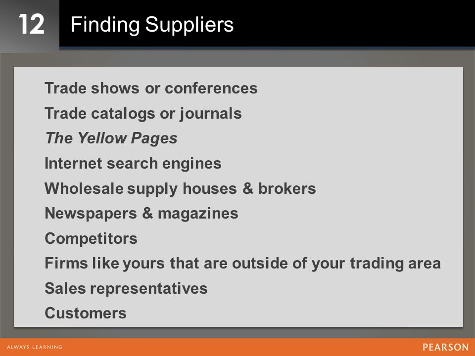 12 Finding Suppliers Trade shows or conferences