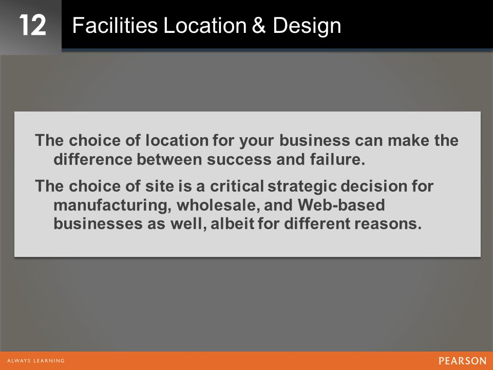 12 Facilities Location & Design