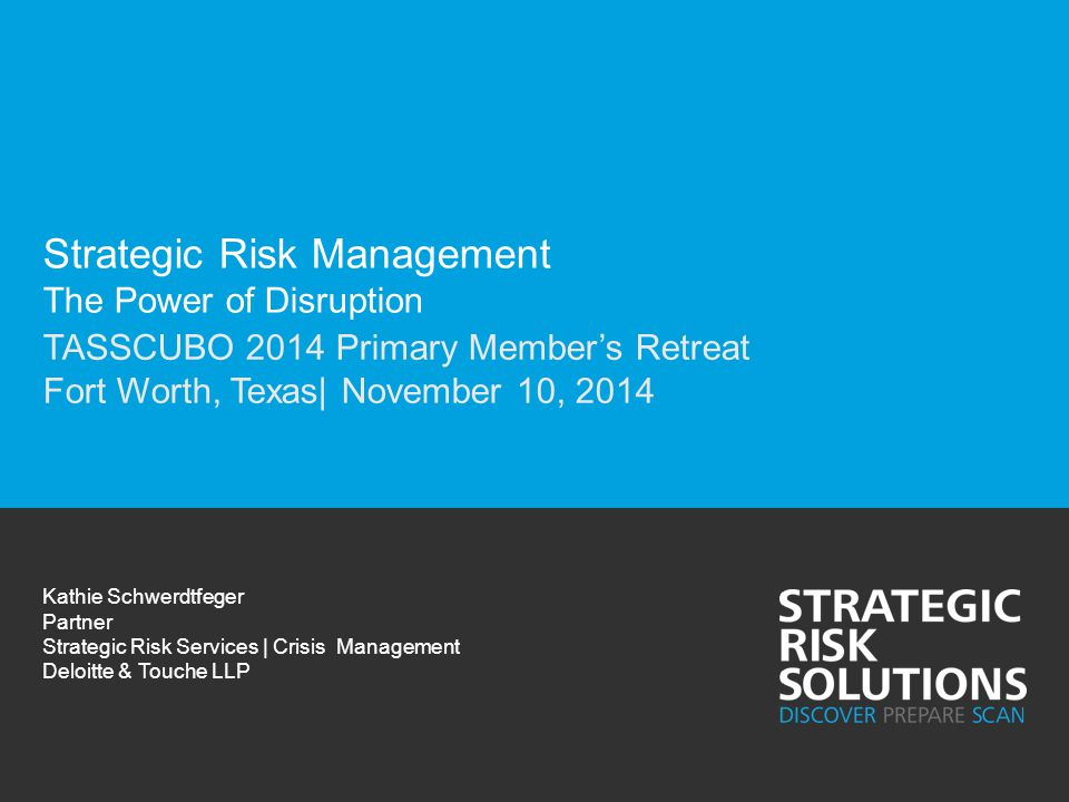 Strategic Risk Management The Power of Disruption