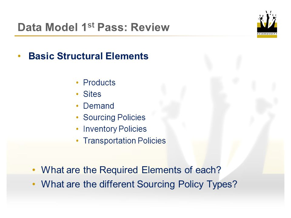 Data Model 1st Pass: Review