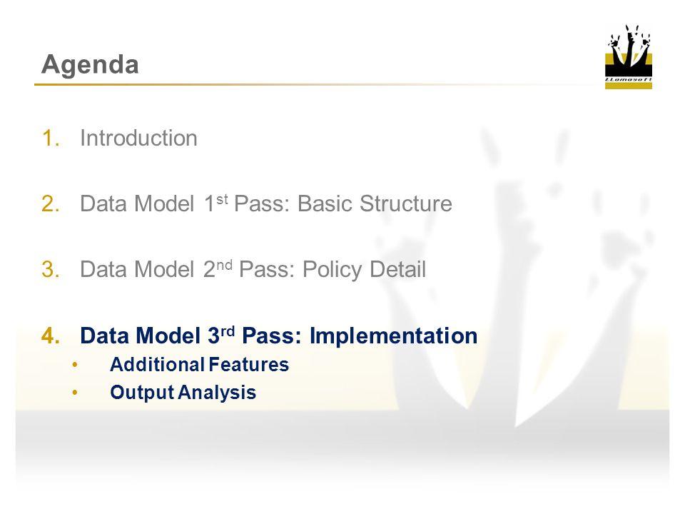 Agenda Introduction Data Model 1st Pass: Basic Structure