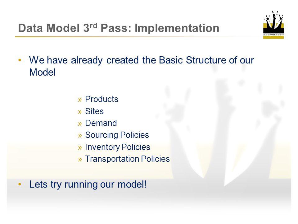 Data Model 3rd Pass: Implementation