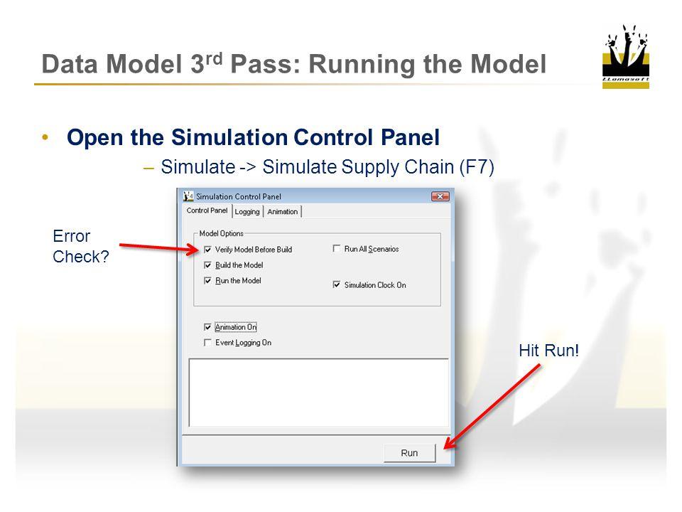 Data Model 3rd Pass: Running the Model