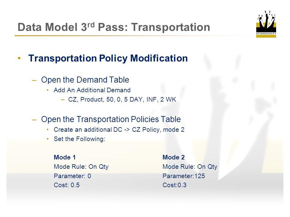 Data Model 3rd Pass: Transportation