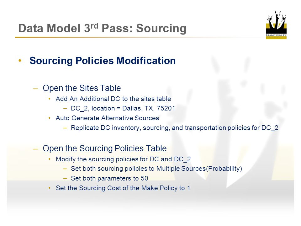 Data Model 3rd Pass: Sourcing