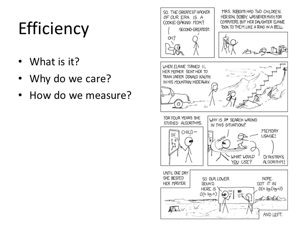 Efficiency What is it Why do we care How do we measure