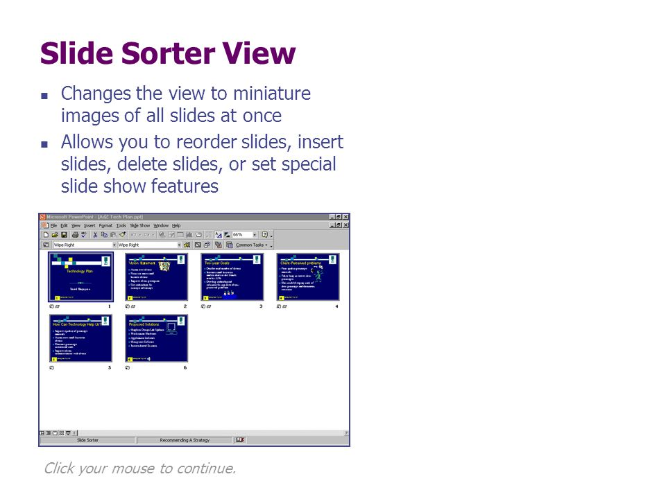 Slide Sorter View Changes the view to miniature images of all slides at once.
