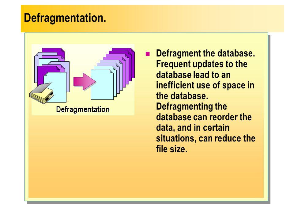 Defragmentation. Defragmentation.