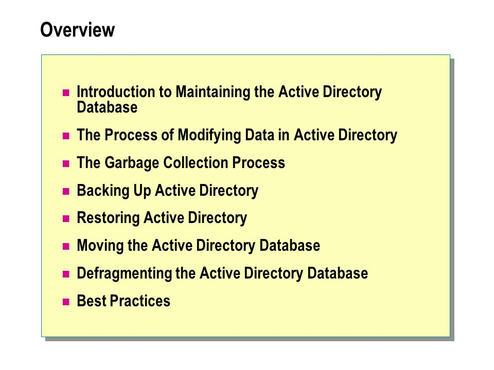 Overview Introduction to Maintaining the Active Directory Database