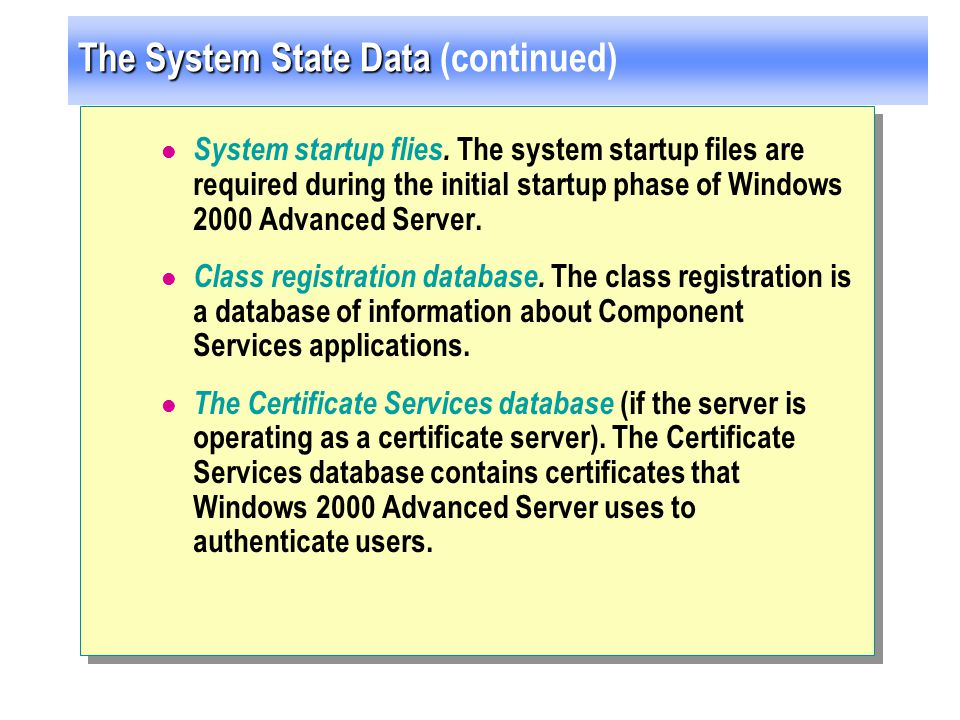 The System State Data (continued)