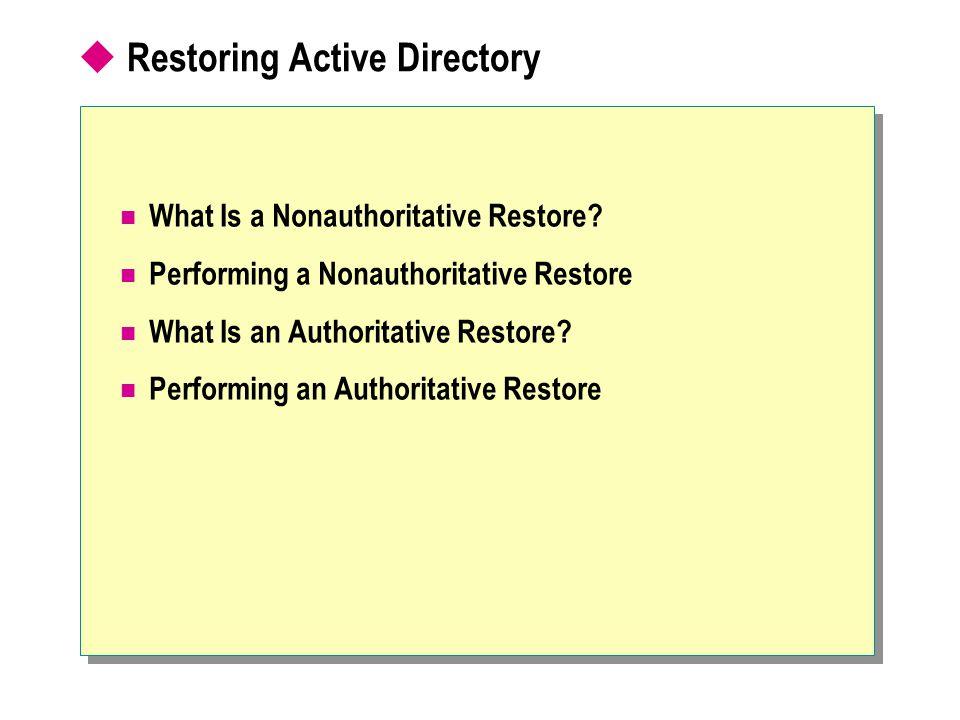 Restoring Active Directory