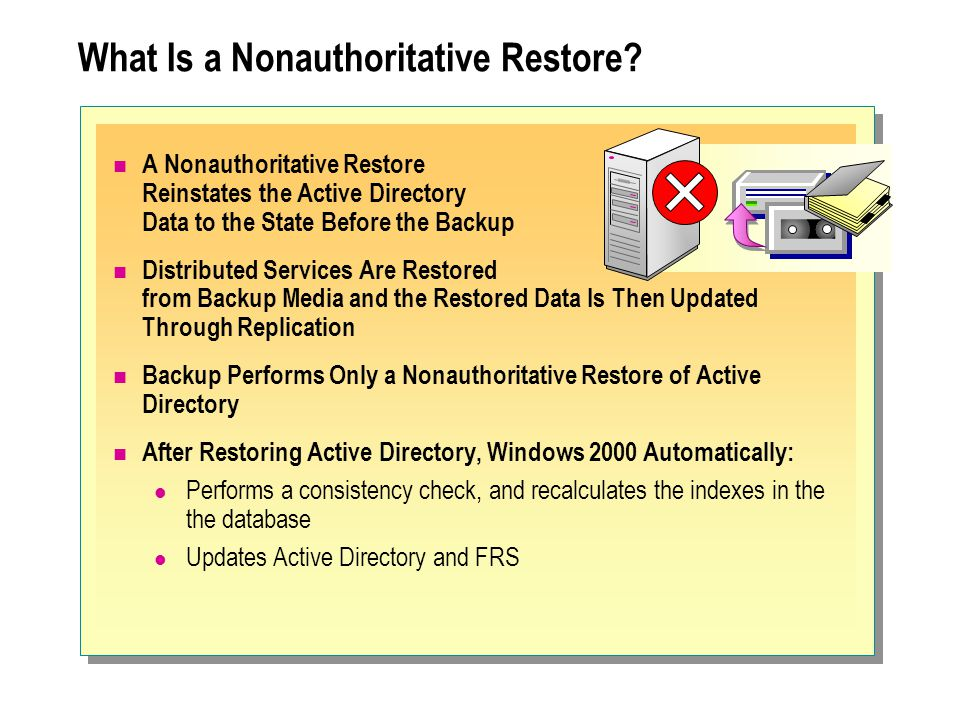 What Is a Nonauthoritative Restore