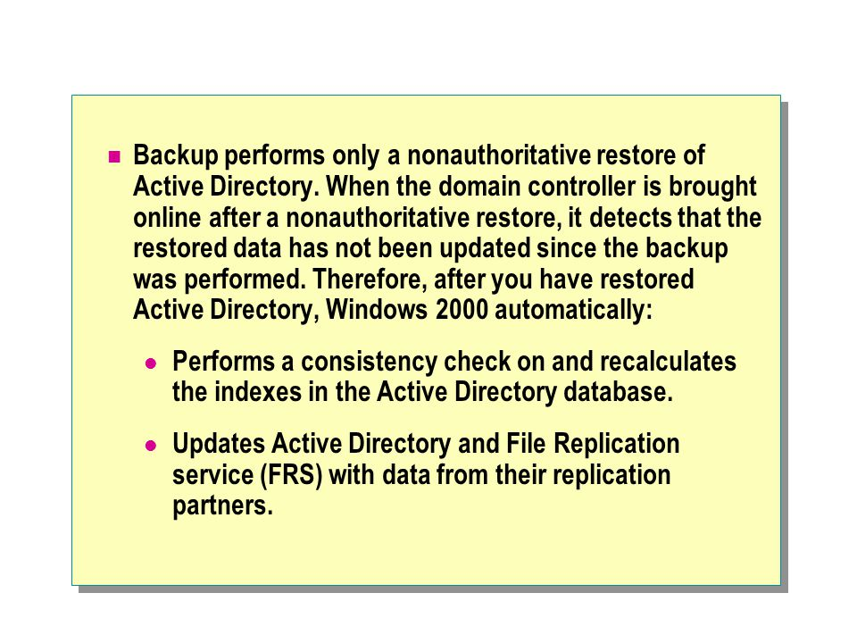 Backup performs only a nonauthoritative restore of Active Directory