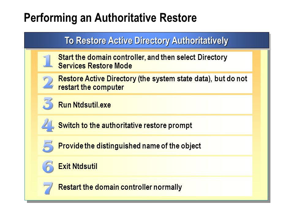 Performing an Authoritative Restore