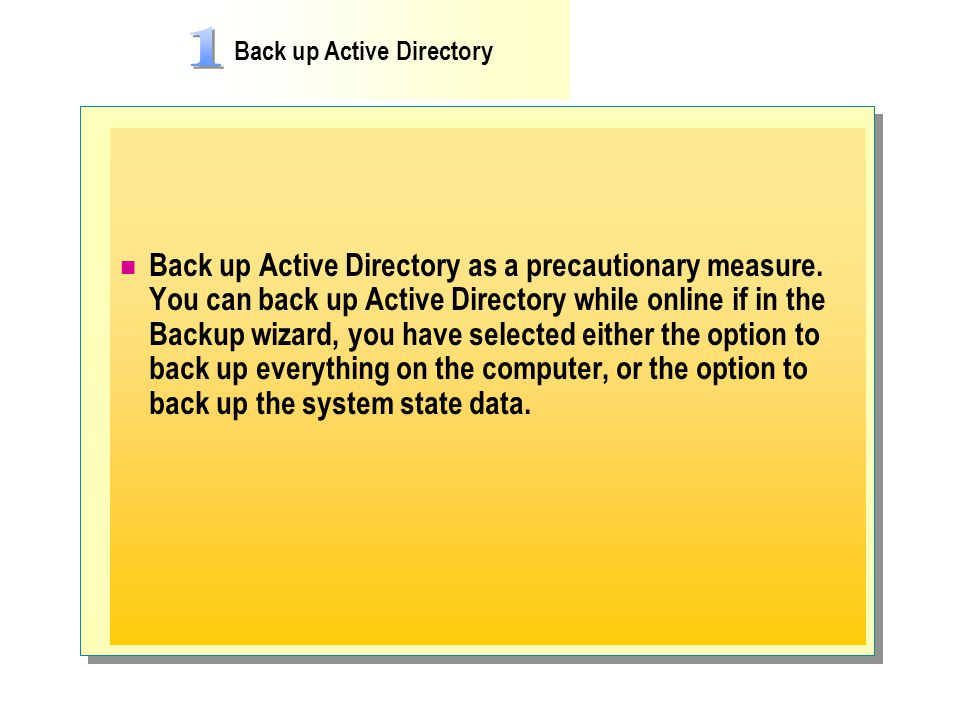 Back up Active Directory
