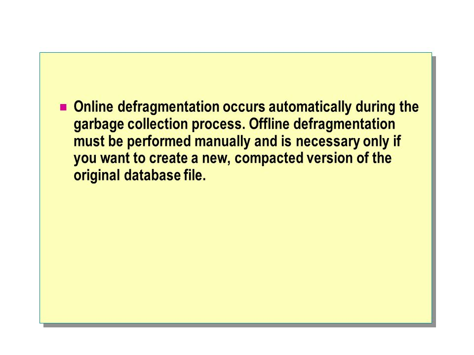 Online defragmentation occurs automatically during the garbage collection process.