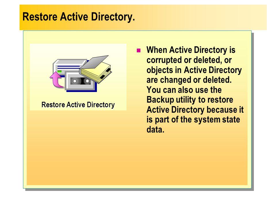 Restore Active Directory.