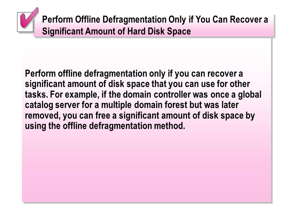 Perform Offline Defragmentation Only if You Can Recover a