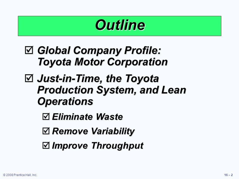 Outline Global Company Profile: Toyota Motor Corporation
