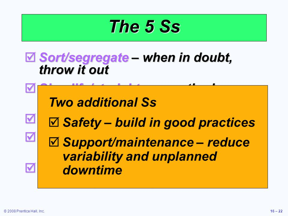 The 5 Ss Sort/segregate – when in doubt, throw it out