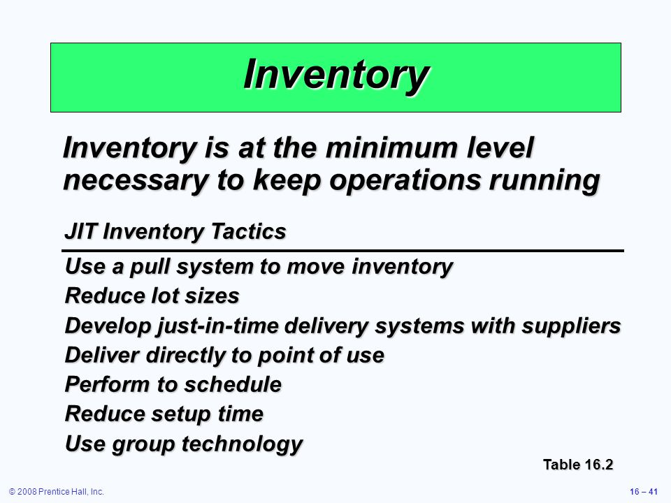 Inventory Inventory is at the minimum level necessary to keep operations running. JIT Inventory Tactics.