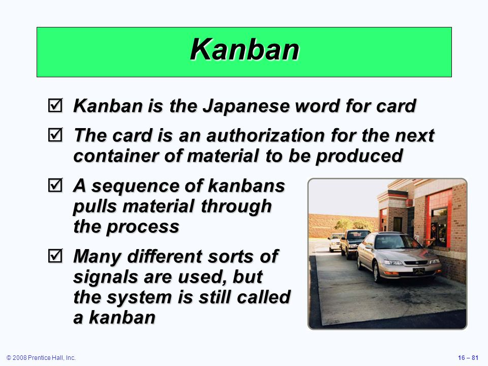 Kanban Kanban is the Japanese word for card