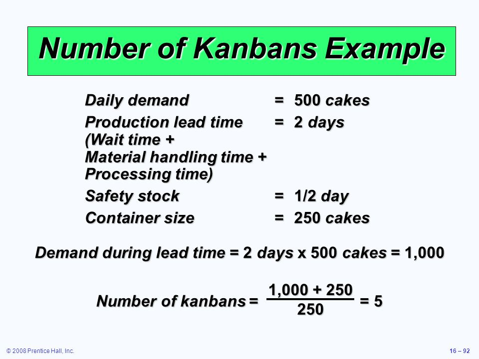 Number of Kanbans Example
