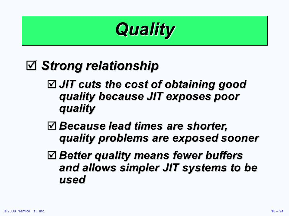 Quality Strong relationship