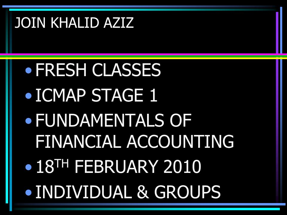 FUNDAMENTALS OF FINANCIAL ACCOUNTING 18TH FEBRUARY 2010