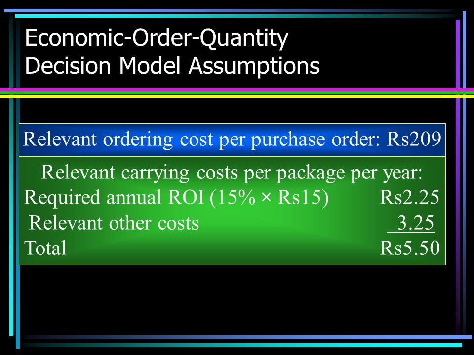 Economic-Order-Quantity Decision Model Assumptions