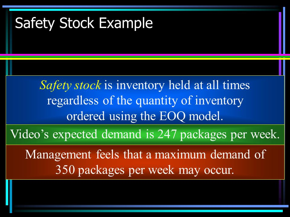 Safety Stock Example Safety stock is inventory held at all times